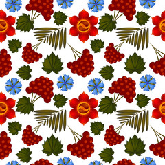 Seamless floral background with Ukrainian motifs