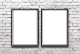 Fototapety Two blank vertical paintings or posters in black frame