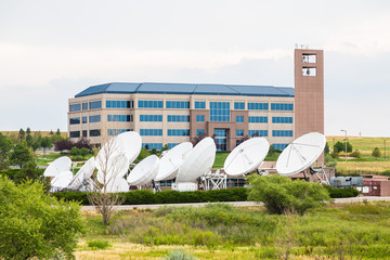 Satellite Dishes by Building