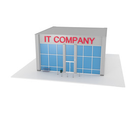 IT Company office building isolated on white