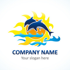 Dolphin logo. Logo of Tourism, resort or hotel by the sea.