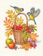 Постер, плакат: Синицы и ягоды рябины осень акварель