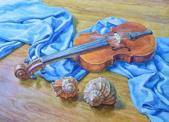 Натюрморт, акварель. Скрипка и морские раковины.