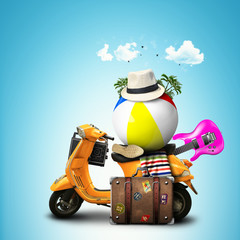 Orange scooter with items for vacation with a suitcase and a hat