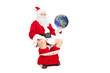 Santa holding the planet in hand seated on toilet