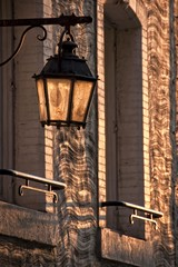 Vintage city light in the sunset