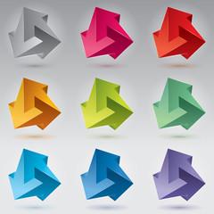 9 Impossible figure, 3 arrows, impossible arrows, color set