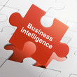 business intelligence on red puzzle pieces