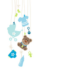 Hanging Baby Symbols Boy Teddy