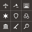 Vector black justice icons set - 69664035