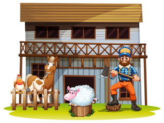 Animals and lumberjack