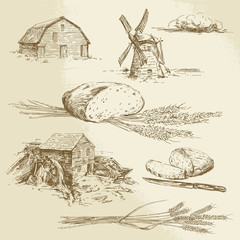 bread, farm - hand drawn illustration