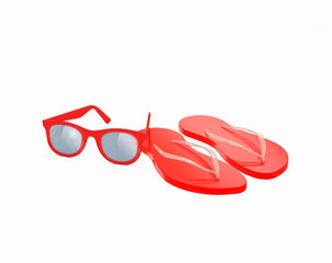 red flip flops with flower and red vintage sunglasses