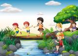 Fototapety Children and stream