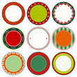 Set Of Round Christmas Frames Red/Orange/Green