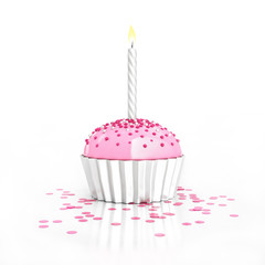 silver birthday chocolate cupcake with candle and confetti