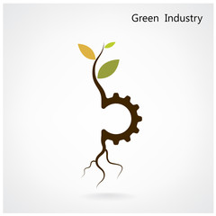 Green industry concept. Small plant and gear symbol, business an