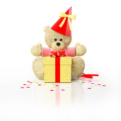 teddy bear with party cap and gift box