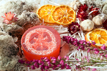 Background of spa with dried fruits