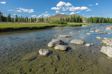River near the village of Ulugun in the Altai Mountains