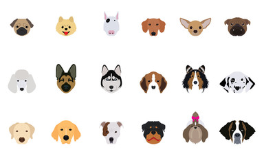 Set of Head Dogs Vectors and Icons
