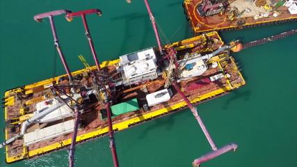 Dredging barge aerial video Miami Beach