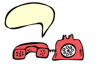 red retro telephone and speech bubble