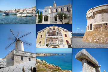 A collage of Menorca island, Spain