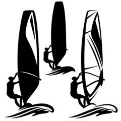 windsurfer silhouette design element