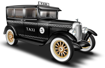 schwarzer Oltimer, PKW, Limousine Taxi, Taxe