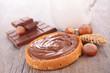 canvas print picture - chocolate cream and bread