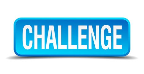 challenge blue 3d realistic square isolated button