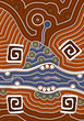 A illustration based on aboriginal style of dot painting depicti - 69668686