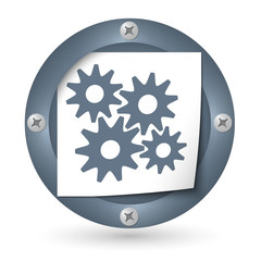 dark abstract icon with paper and cogwheels