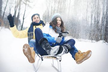 Sledding in winter make us happy