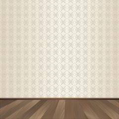 Vintage, wall, wallpaper, wooden flooring, vector illustration