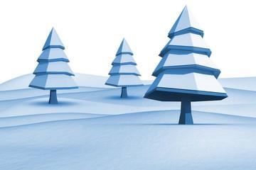 Fir trees on snowy landscape