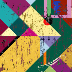 abstract colorful geometric background, grungy style