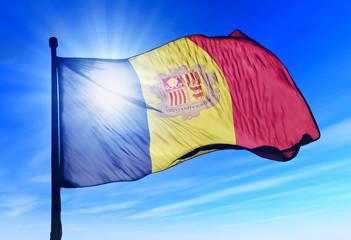 Andorra flag waving on the wind