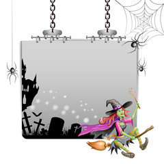 Banner for Halloween with witch flying in broom
