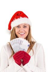 Festive blonde showing fan of euros
