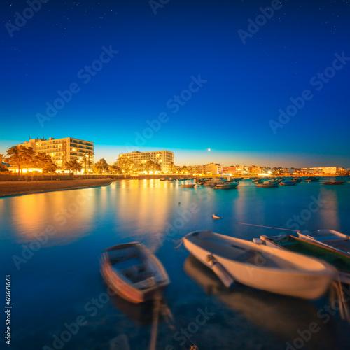 canvas print picture Ibiza island night view