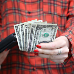 Money in woman's hand