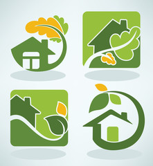 vector set of ecological homes signs and icons