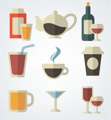vector beverage collection in flat style