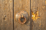 Door knob on old house in Pristina poster