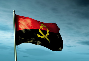 Angola flag waving on the wind
