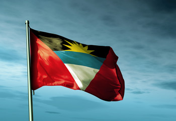 Antigua and Barbuda flag waving on the wind
