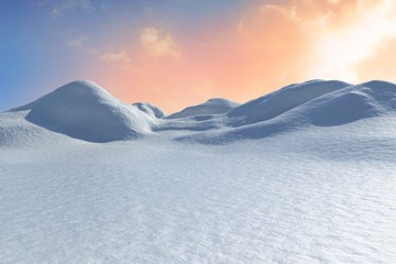 Digitally generated snowy land scape