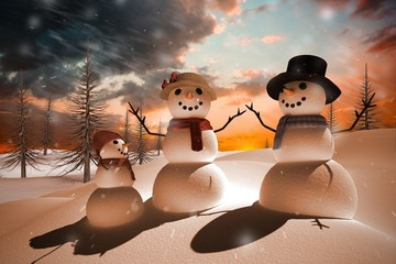 Composite image of snow family